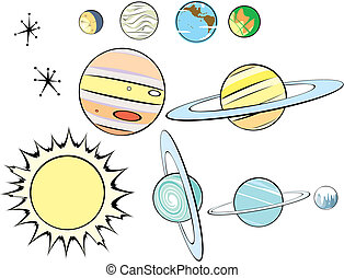 retro, 系統, 太陽, 組