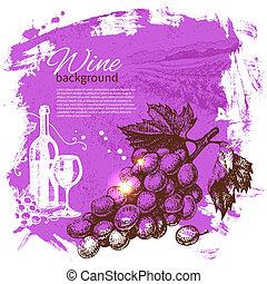 retro, 飛濺, 手, 酒, 團點, 設計, 背景。, 葡萄酒, illustration., 畫