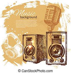 retro, 飛濺, 發言者, 手, 團點, 音樂, 設計, 背景。, 葡萄酒, illustration., 畫