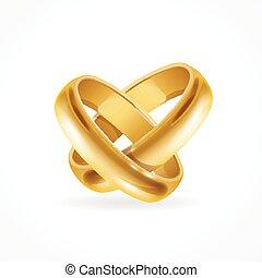 rings., 矢量, 晴朗, 金, 婚禮