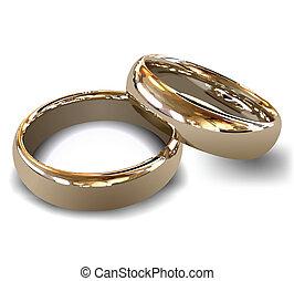 rings., 矢量, 金, 婚禮
