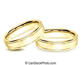 rings., 矢量, 金, 插圖, 婚禮