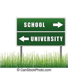 roadsign, 學校, university.
