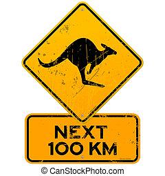 roadsign, 100, 袋鼠, km, 其次