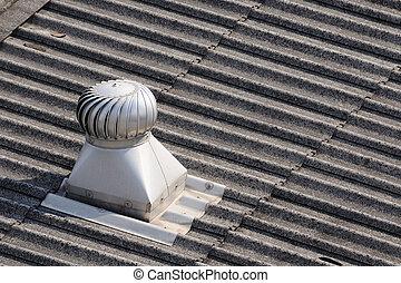 roof-ventilator, 頂部, 單個, roof.