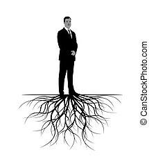 roots., 矢量, illustration., 人