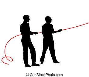 rope?., illustration., 人們, 黑色半面畫像, 矢量, 黑色, 拉