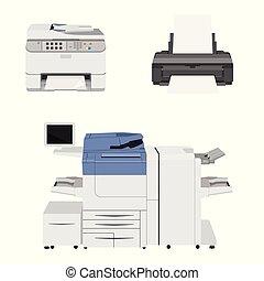 scanner., 打印机, 辦公室, multifunction, 機器, 打印机, 模仿