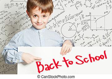 school., 男孩, 背, 概念, 教育, 廣告欄