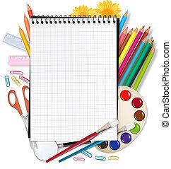 school., 背, 學校, notepad