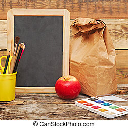 school., 背, concept., 教育