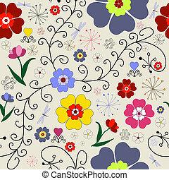 seamless, 圖案, 植物
