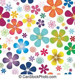 seamless, 白色, 圖案, 植物