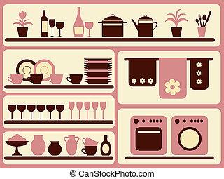 set., 對象, 廚房, 家, 器皿