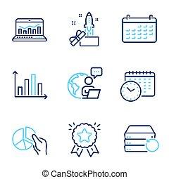 set., signs., 革新, analytics, 矢量, included, 圖象, 日曆, 圖象, 教育, 网