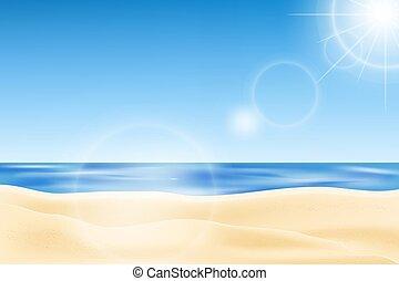 sky., 季節, 夏天, 海灘, 海邊, 陽光, 藍色的背景, 看法