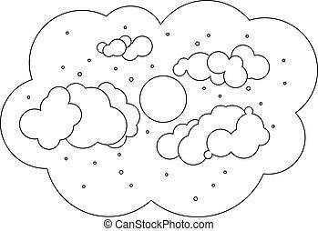 sky., 黑色, 月亮, 云霧, white.