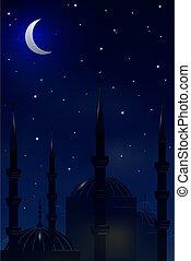 sky.vector, 夜晚, 背景, 清真寺