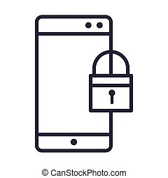smartphone, 圖象, 技術, 安全, 線, 稀薄, 風格, 被鎖, 設計, 設備