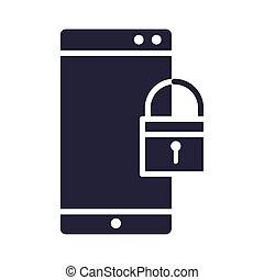 smartphone, 圖象, 技術, 安全, 黑色半面畫像, 風格, 被鎖, 設計, 設備