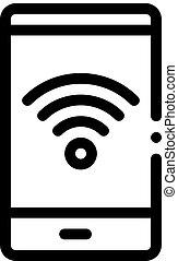 smartphone, 圖象, outline, wi-fi, 連接, 插圖, 矢量