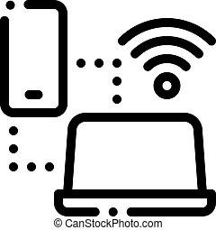 smartphone, 圖象, outline, wi-fi, 連接, 插圖, 矢量, 膝上型