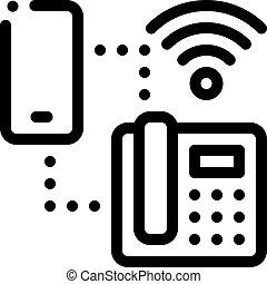 smartphone, 圖象, outline, wi-fi, 連接, 插圖, 電話, 矢量, 家