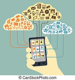 smartphone, 手, 連線, 藏品, 服務, 雲