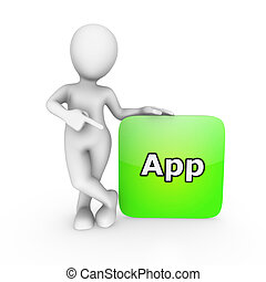 smartphone, 指, 應用, 手指, 白色, 人, 3d