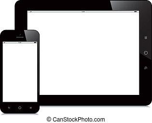 smartphone, 片劑, 屏幕, 背景, 空白, 白色