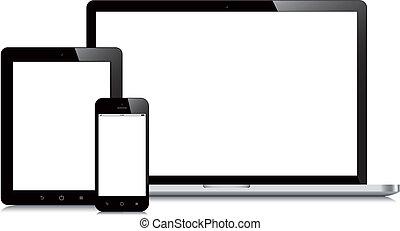 smartphone, 片劑, mockup, 膝上型, 背景, 白色