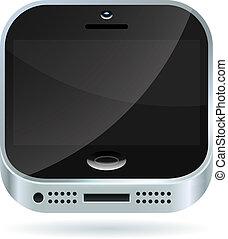 smartphone, 現代, 被隔离, 背景。, 矢量, 白色, 圖象