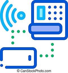 smartphone, 電話, outline, wi-fi, 家, 矢量, 圖象, 插圖, 連接