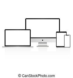smartphone, mockup, 白色, 被隔离, 電腦, 顯示, 膝上型, 背景, 片劑