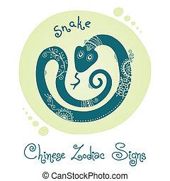 snake., 黃道帶, 漢語, 簽署