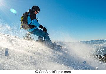 snowboarding, 運動, 山, 擋雪板, 騎馬, snowboard, 紅色, 冬天, day., 陽光普照