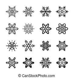 snowflakes., 矢量, 黑色, illustration., 彙整