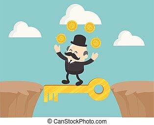 sought, 老板, 錢, 他, 商人, 插圖, 步行, 懸崖, pleasure., 魔術, 在之間, 矢量, keys., 概念