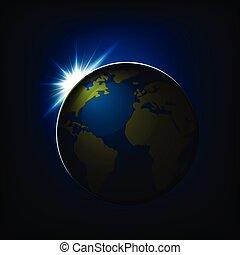 space., v, 綠色的地球, 海洋意見, 藍色的球, 大陸, 日出, 在上方