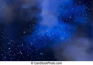 starry 天空, 多雲, 夜晚
