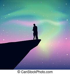 starry 天空, 懸崖, borealis, 夫婦, 看, 極光, 鮮艷