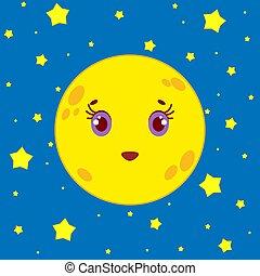starry 天空, 月亮, 背景, 夜晚, 卡通