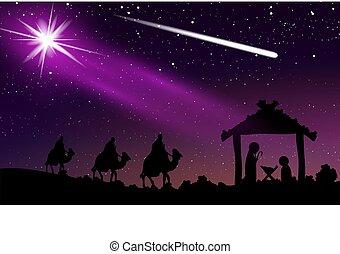 starry 天空, 耶穌, 夜晚, 彗星, 聖誕節