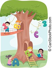 stickman, 玩, 孩子, 樹