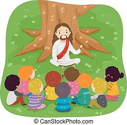 stickman, 聖經, 耶穌, 孩子, 講故事