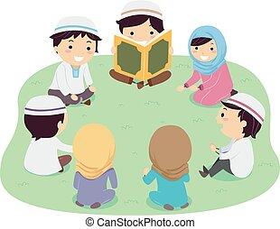 stickman, quran, 孩子, 插圖, 閱讀