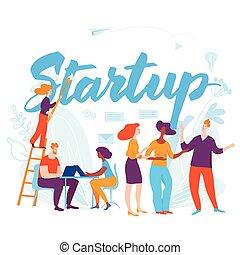 sturtup, 概念, 商業界人士, 插圖, 卡通