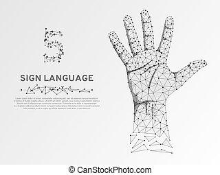 succes, 語言, 通訊, 聾, 數字, poly, 簽署, 高, 手指, 矢量, 配合, 低, origami, 五, 手勢