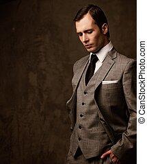 suit., 灰色, 人