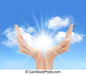 sun., 手, vector., 明亮